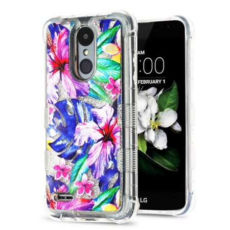 Rebel Floating - TUFF Liquid Floating Glitter Quicksand Waterfall Hybrid Silicone Gel Phone Protector Case - (Watercolor Hibiscus) and Atom Cloth for LG Rebel 3 4G LTE L157BL, L158VL