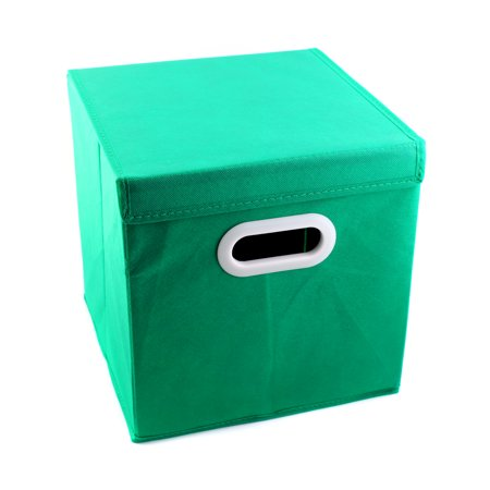 Green Foldable Non-woven Storage Basket Closet Toy Box With Cover Cube Drawer