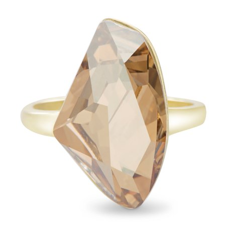 Lesa Michele Faceted Crystal Womens Golden Shadow Cocktail Ring in Yellow Gold over Sterling Silver made with Swarovski Crystals