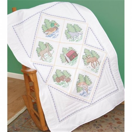 Jack Dempsey Great Outdoors Stamped White Lap Quilt Top, 38