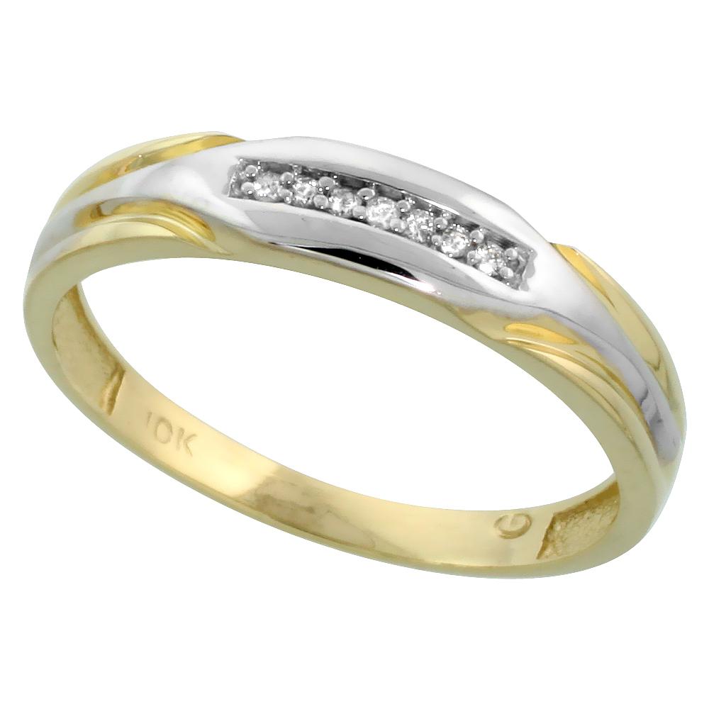 10k Yellow Gold Men's Diamond Wedding Band, 3/16 inch wide