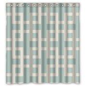 HelloDecor Traditional Lattice Aqua Latticework Shower Curtain Polyester Fabric Bathroom Decorative Curtain Size 66x72 Inches