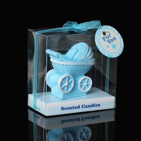 Sexy Sparkles 1 Pc Baby Blue Carriage Stroller Baby Shower Votive Candle Favors 7cm Baby Carriage Candle Favor