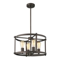 "CHLOE Lighting IRONCLAD Farmhouse 4 Light Rubbed Bronze Convertible Ceiling Pendant 17.5"" Wide"