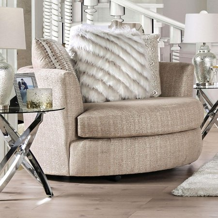 Contemporary Fabric Upholstery Chair in Beige Avery by Furniture of America