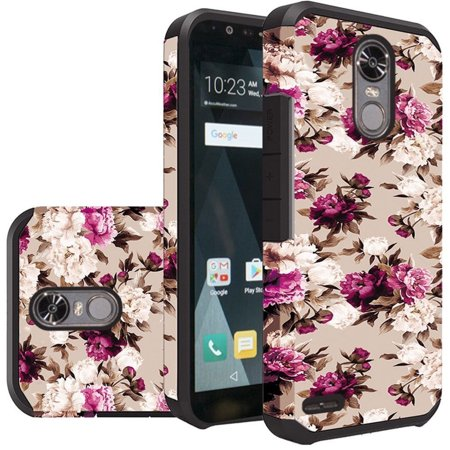buy popular 50095 205d8 LG Stylo 3 case, LG Stylo 3 Plus case, by Insten Roses Dual Layer [Shock  Absorbing] Hybrid Rubberized Hard Plastic/Soft Silicone Case Cover For LG  ...