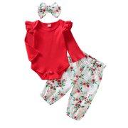 Wayren USA 3PCS Clothes Set Newborn Baby Girl Clothes Ruffle Romper Bodysuit Floral Halen Pants Headband Outfits 12-18 Months