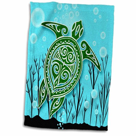 3dRose Tropical Green Sea Turtle with Underwater Plants and Bubbles - Towel, 15 by 22-inch