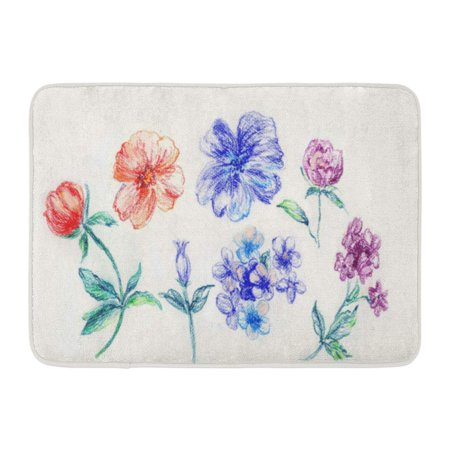 GODPOK Gouache Blossom Fragrant Flowers Blossoming All Year Round The Leaves and Design Drawing Ink Rug Doormat Bath Mat 23.6x15.7