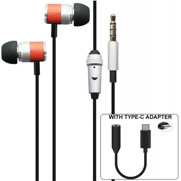 Premium Sound Hands-free Headset with Mic Earphones TYPE-C Audio Adapter Headphones Jack Compatible With Motorola Moto Z3