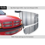304 Stainless Billet Grille Grill Combo Compatible with 97-04 Dodge Dakota 98-03 Durango D81220S