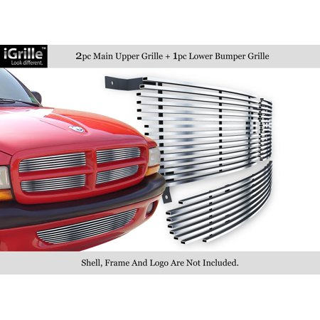 304 Stainless Billet Grille Grill Combo Compatible with 97-04 Dodge Dakota 98-03 Durango N19-C02218D Dakota Billet Grille Grill