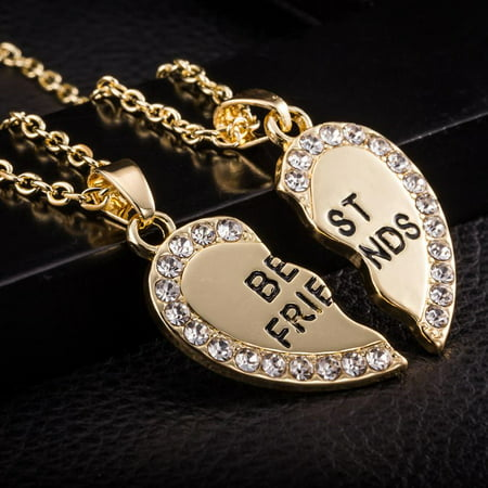 2pcs Crystal Half Love Heart Pendant Best Friends Necklace Friendship Gift - Gold