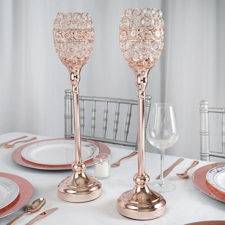 Efavormart Rose Gold 2PC Crystal Candle Holder Goblet Votive Wedding Chandelier Centerpiece](Lantern Wedding Centerpieces)