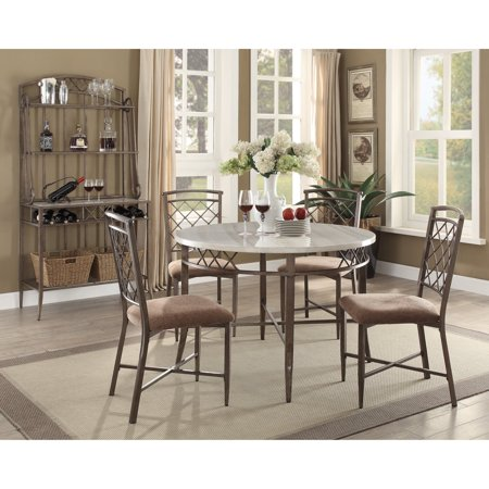 ACME Aldric Dining Table, Faux Marble & Antique