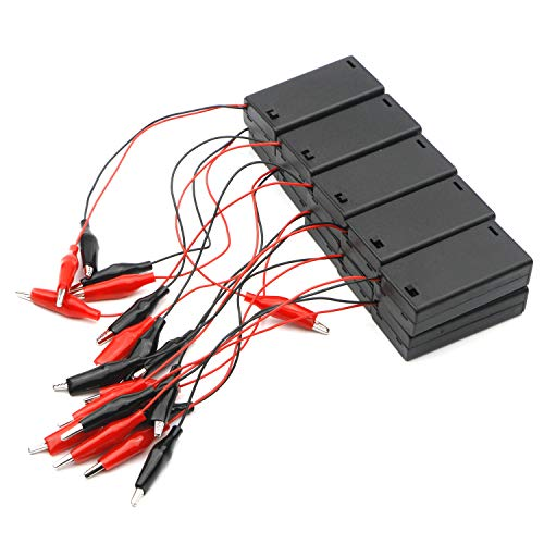 Details about  /10 x 1.5V AA Battery Spring Clip Holder Storage Case Box Wire Leads
