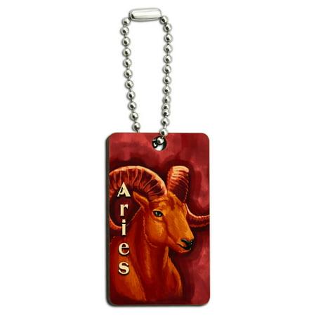 Aries Ram Zodiac   Astrological Sign Astrology Wood Rectangle Key Chain