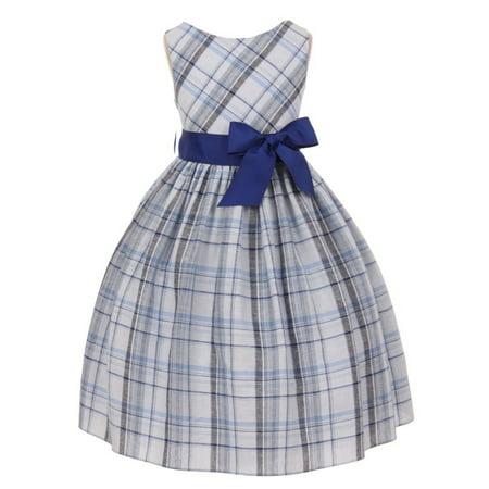 Kids Dream Little Girls Royal Blue Tartan Plaid Special Occasion Dress 4 (Tartan Plaid Dress)