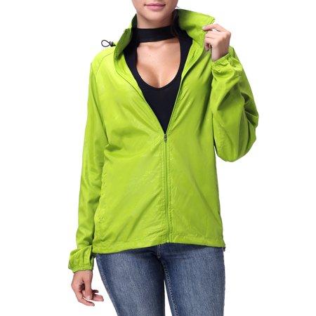 Green Jacket - SAYFUT Women's/Men's Outdoor Lightweight Windbreaker Jacket Waterproof Rain Jacket Drawstring Hooded Zip-Up Sport Windbreaker Blue/Red/Black/Green