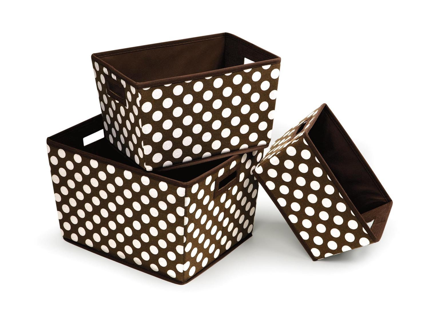 3 Pack Polka Dot Nesting Trapezoid Folding Baskets, Brown, Fabric By Badger Basket by