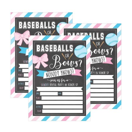 25 Baseballs or Bows Gender Reveal Baby Shower Party Invitation Cards, Pink Blue Personalized For Gender Neutral Unisex Invites Guess If Its a Boy Girl Sprinkle Fill In The Blank Printable Invite Pack (Create Printable Invitations)