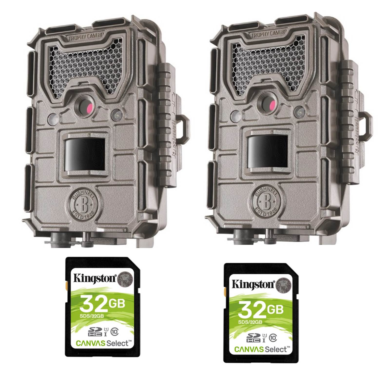 Bushnell Trail Camera Kit Essential 16MP HD Cam Low Glow 2 PACK 2 Cameras + 2 SD CARDS