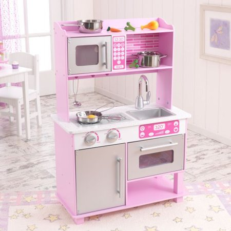 Kidkraft pink toddler wooden play kitchen with accessories for Toddler kitchen set