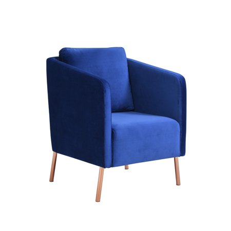 Mainstays Velvet-Look Arm Chair with Rose Gold Legs, Multiple Colors ()