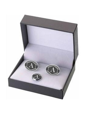Black & White Monogram Cufflinks and Tie Tack Gift Set, A-Z