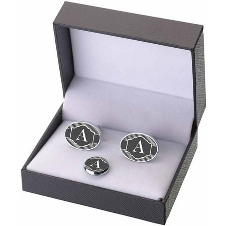 Necktie Cufflinks (Black & White Monogram Cufflinks and Tie Tack Gift Set, A-Z)