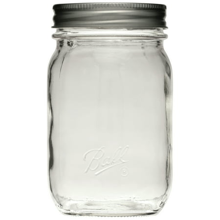 Ball Smooth-Sided Glass Mason Jar w/ Lid & Band, Regular Mouth, 16 ounces, 12 Count - Glass Jars For Sale