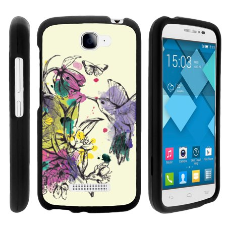 Alcatel Fierce 2, Pop Icon, 7040T, and A564C, [SNAP SHELL][Matte Black] Snap On Hard Plastic Protector with Non Slip Coating with Unique Designs - Hummingbird Flowers (Humminbird Electronics)