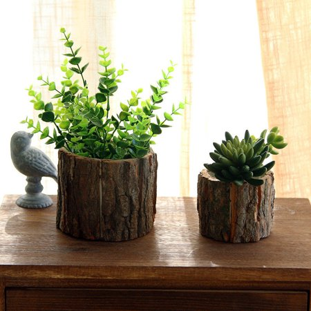 Wood Wooden Round Barrel Planter Flower Pot Office Home Garden Wedding Decor New for $<!---->