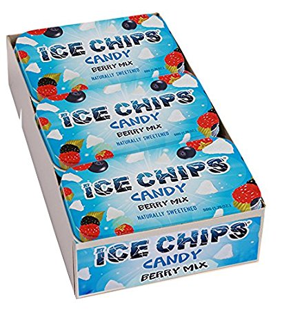 ICE CHIPS Xylitol Candy, Berry Mix (6 Tins)