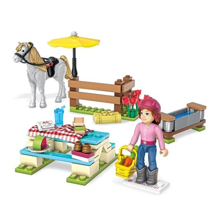 Mega Construx American Girl Saige's Picnic Building Set, Buildable picnic scene with horse fence and trough, and picnic table By Mega