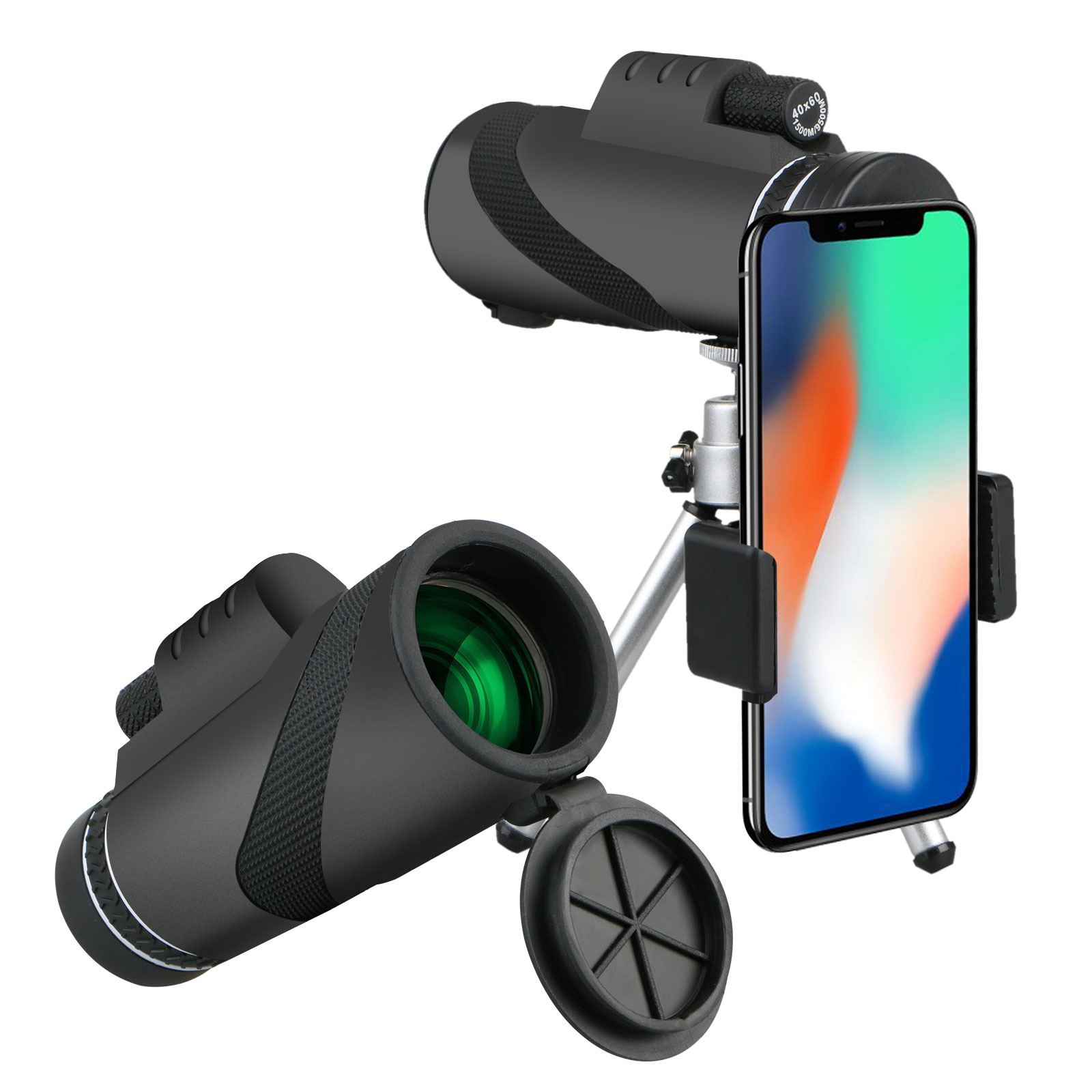 40x60 Waterproof Clip-On Monocular, High Power Monocular Telescope Cellphone Camera Lens with Tripod Mount for Hunting, Camping, Bird Watching, Travelling