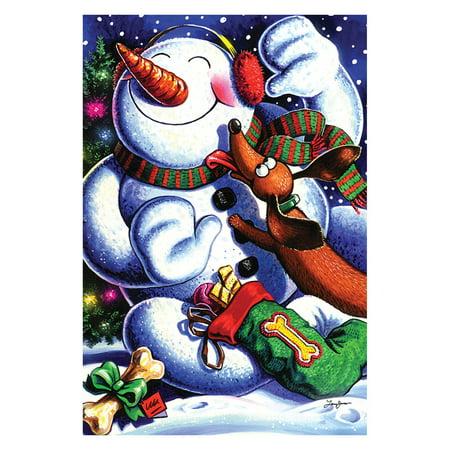 Best Friend Usa Flag - Toland Home Garden Snowmans Best Friend Flag