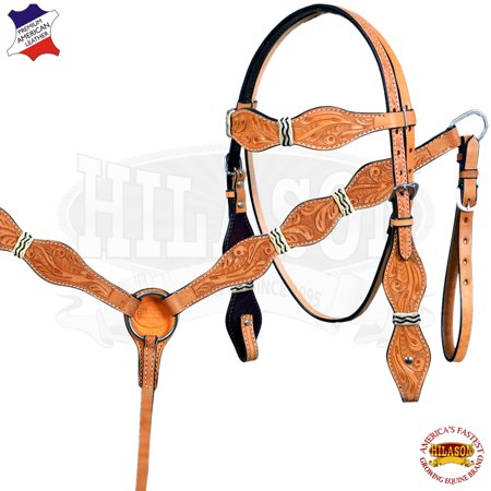 - HILASON WESTERN AMERICAN LEATHER RAWHIDE BRAIDED HEADSTALL BREAST COLLAR