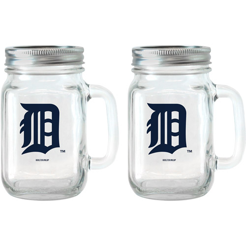 MLB 16 oz Detroit Tigers Glass Jar with Lid and Handle, 2pk