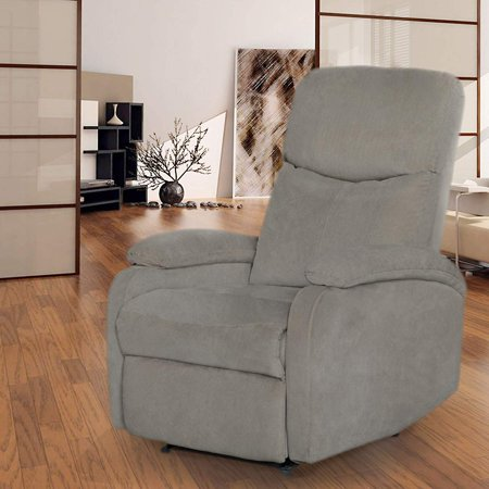 Recliner Chair Living Room Single Fabric Comfortable Sofa Home Theater Seating with Thick Seat Cushion and Backrest Modern Club Chair Grey ()
