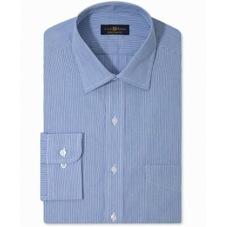 Stripe Non Iron Shirt - Club Room NEW Blue Mens Size 18 Striped Non-Iron Regular-Fit Dress Shirt