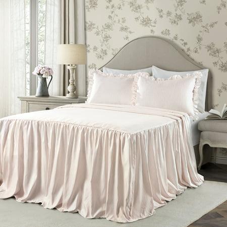 Twin 2pc Ticking Stripe Bedspread Set Blush - Lush Décor