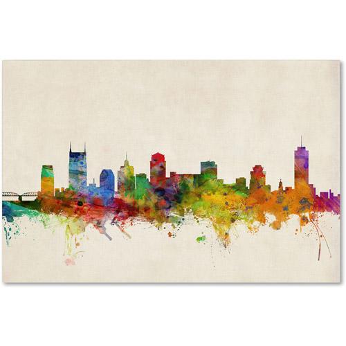 "Trademark Fine Art ""Nashville Watercolor Skyline"" Canvas Art by Michael Tompsett"