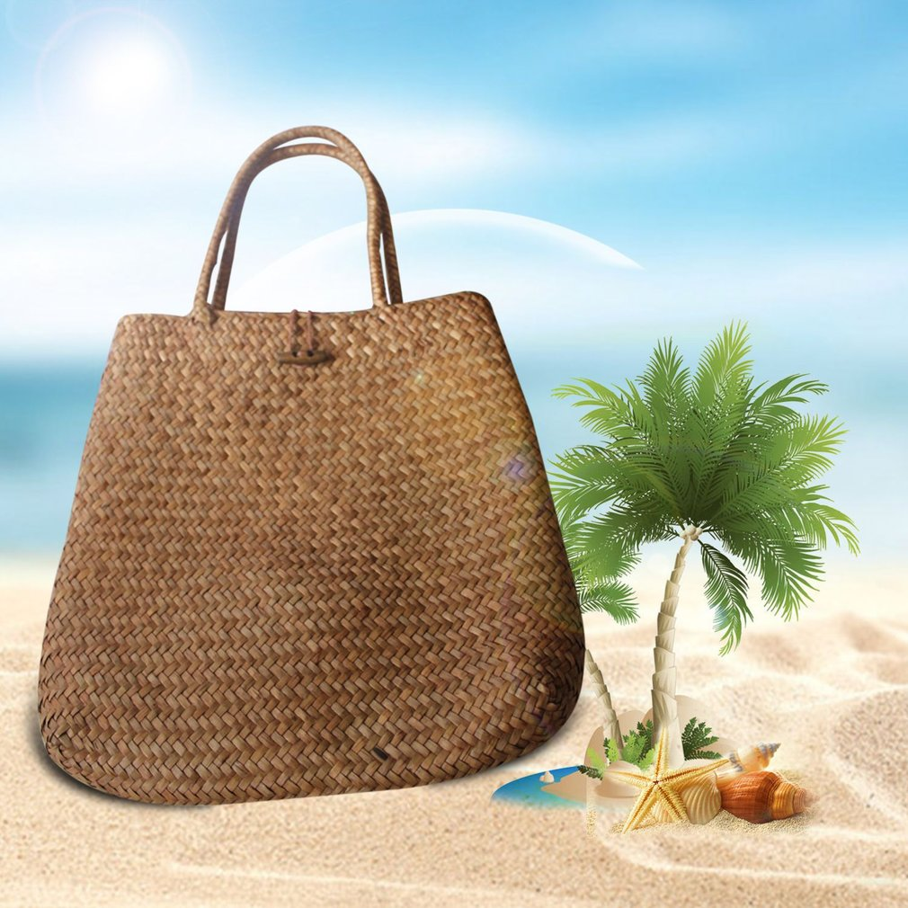 Charming Women Summer Beach Tote Woven Bag Casual Straw Knitted Shoulder Bag Handbag