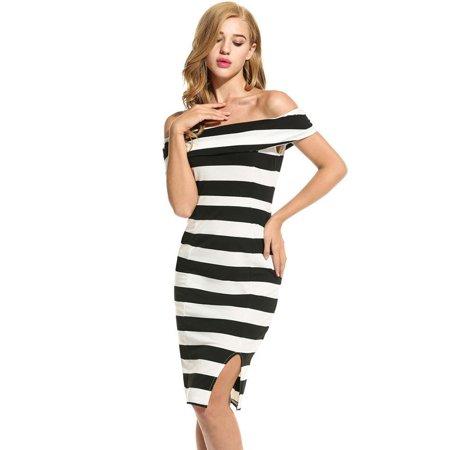 Women Casual Sleeveless Striped Off Shoulder Slim Sexy Dress HFON