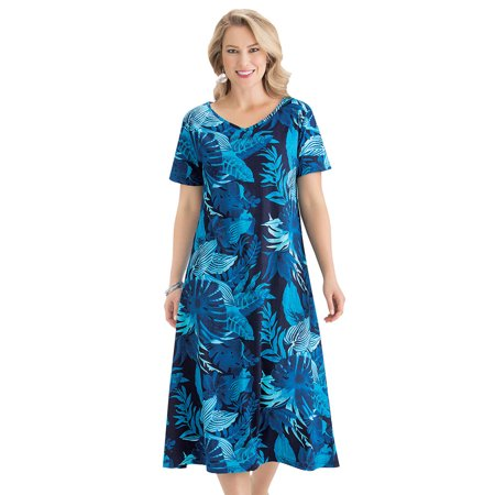 Leaves Corduroy Dress (Women's Tropical Leaf Print Cotton Short Sleeve Dress with V-Neckline, Cute Summer Outfit with  Flattering Fit, Large, Blue )