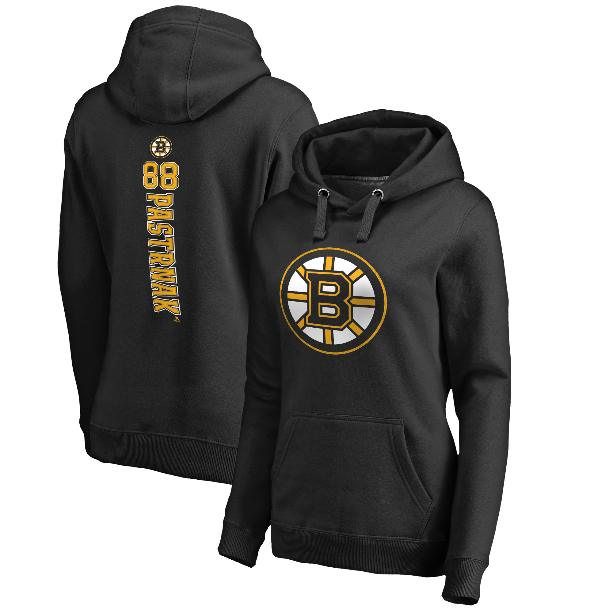 David Pastrnak Boston Bruins Fanatics Branded Women's Backer Pullover Hoodie - Black