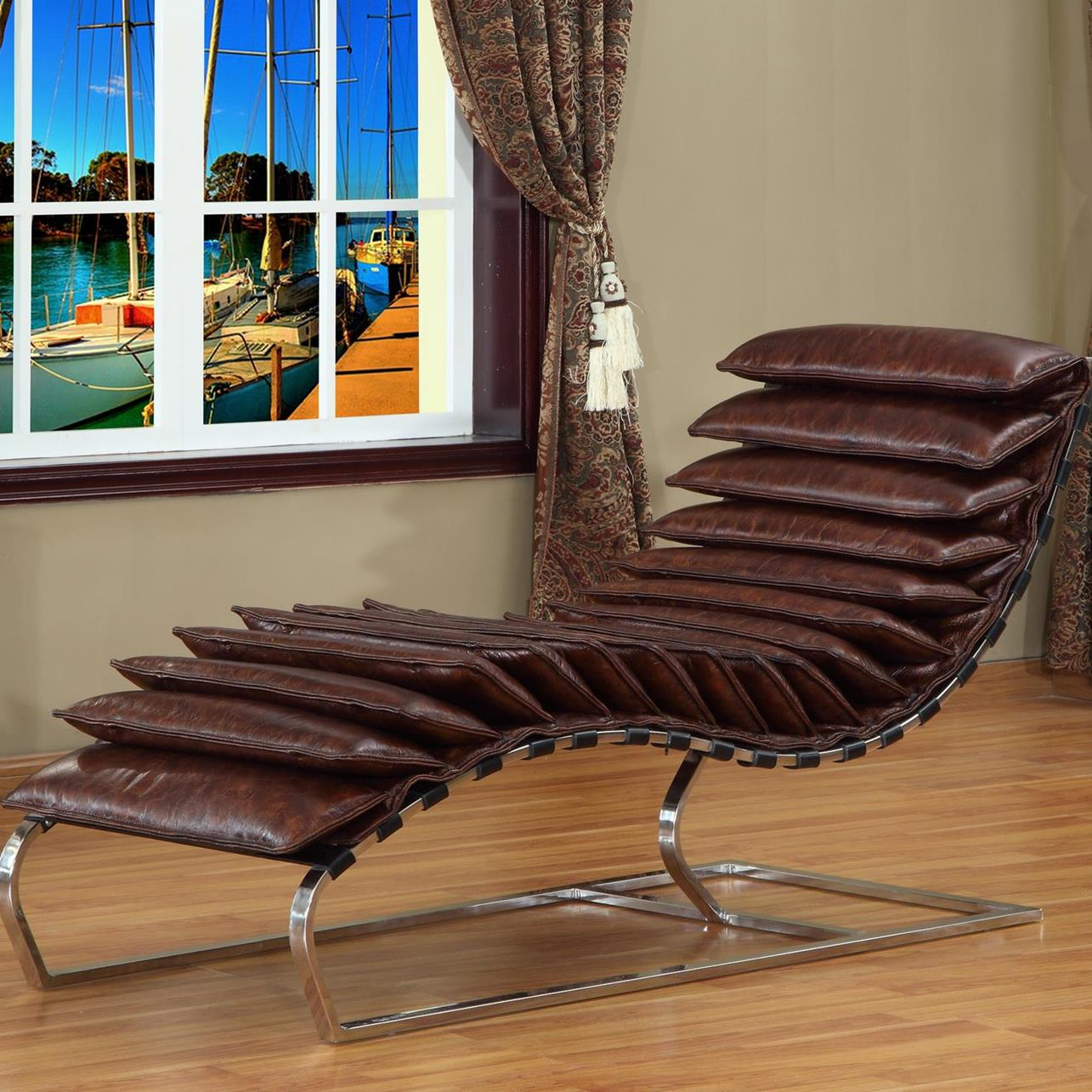 Lazzaro Rino Leather Chaise in Snap