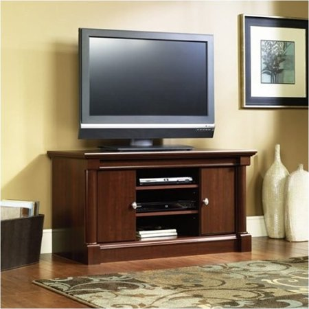 Pemberly Row Mid Size TV Stand in Cherry Finish