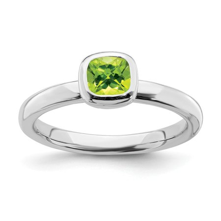 Roy Rose Jewelry Sterling Silver Stackable Expressions Cushion Cut Peridot Ring Size 5